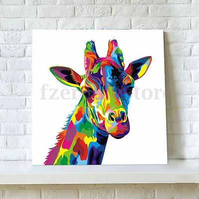 Colors Giraffe Art Canvas Painting Animal Print Picture Wall Unframed Decor