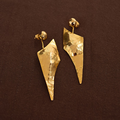 Yellow Gold Plated 925 Sterling Silver Solid Hammered Handmade Drop Earrings New
