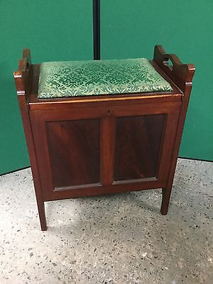 Antique Mahogany Piano Stool With Storage Under