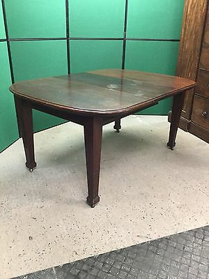 Antique Mahogany Wind Out Extending Dining Table With One Spare Leaf