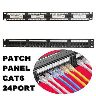 Black CAT6 RJ45 110 Network Ethernet Rack Mount 24 Port 1U 1RU One Space Patch