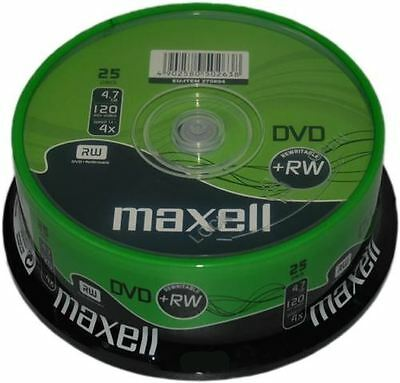 MAXELL 25 SPINDLE OF 1x-4x SPEED 120 MINUTE REWRITABLE DVD+RW DISCS 4.7GB 275894