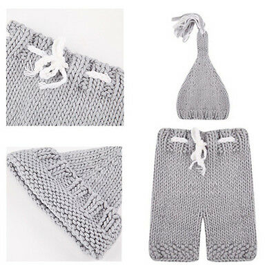 Knitting 1 Set Photography Props Clothing Handmade Hat Pants For Newborn Soft