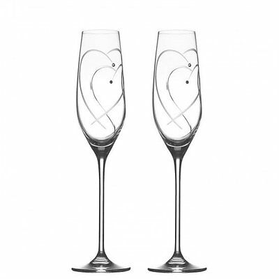 Royal Doulton - Promises - 2 Hearts Entwined - 2 Champagne Flutes