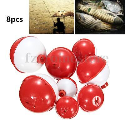 8Pcs/set Assorted Sizes Fishing Bobber Round Floats Combo Tackle Assortment