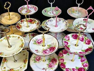 2 Tier Vintage Plate Cake Jewellery Stands High Tea Colclough Royal Albert Vale