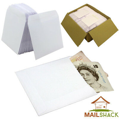 PREMIUM Small Plain White Gummed Envelopes 102 x 108mm Wages, School, Seeds