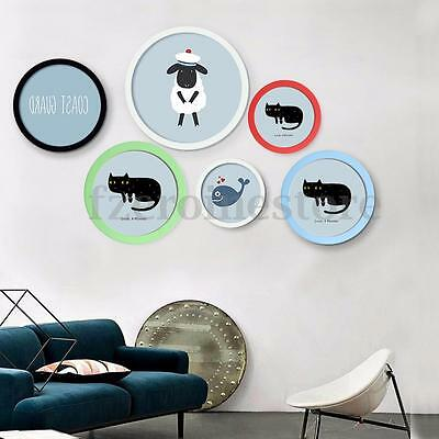 7-12'' Photo Frame Modern Round Wood Hanging Wall Mounted Picture Frames 5 Color