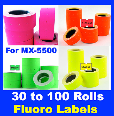 Fluoro Fluro Pricing Price Tag Gun Label Rolls Mx-5500 Pink Yellow Green Orange
