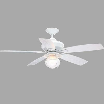 52 in. Sailwind II Indoor Outdoor Matte White Vintage Ceiling Fan Wall Control