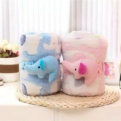Baby Coral Print Baby Cartoon Inflant Sleep Throws Elephant Blanket HOT