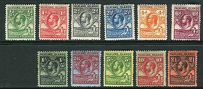 FALKLAND ISLANDS-1929-37 Whale & Penguins lightly mounted mint set to £1 Sg 116+