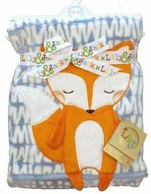 Baby Gift Wrap Blanket Super Soft  3 D Fox Design by Lily & Jack 75 x 100 cm