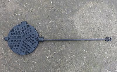 C19th French Cast Iron Heart Shaped Waffle Maker Ideal for Aga or Woodburner