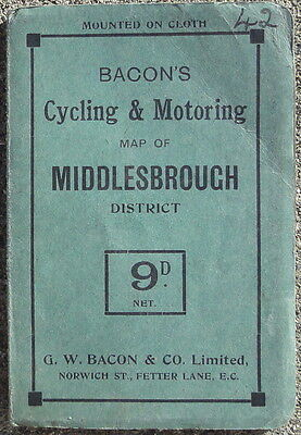 Bacons Cycling and Motoring Map of Middlesbrough District