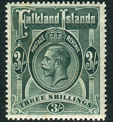 FALKLAND ISLANDS-1912-20 3/- Slate Green.  A lightly mounted mint example Sg 66