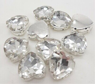 PK 4 LARGE HEART SHAPE SEW ON GLASS CRYSTAL PICK COLOUR IN MOUNT SETTING 14mm