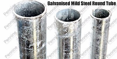 Galvanised Mild Steel Round Tube Pipe - 4 Lengths & Diameters Available