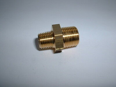 "Solid Brass 3/8"" Bspt Male To 1/4"" Bspt Male Threaded Reducer Connector Nipple"