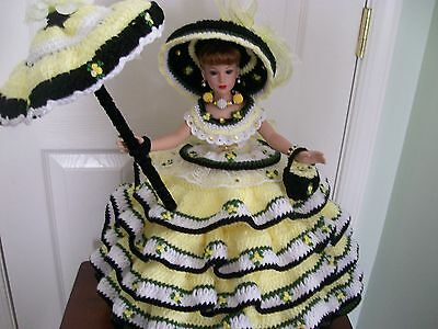 """Diane's Handmade Crochet 18"""" Kitty Collier Doll On Stand, Limited Edition, 10+"""