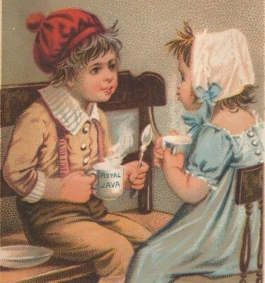 Victorian Tradecard ROYAL JAVA COFFEE 2 Young Kids Face to Face Having a Cup