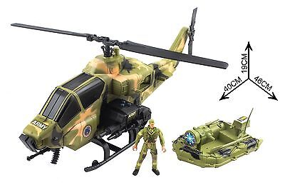 Army Action Figure Large Helicopter Set with Life Boat Military Men Soldiers