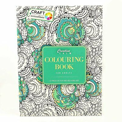 Adult Colouring Therapy Creative Calm Anti-Stress Colouring Book Craft Sensation