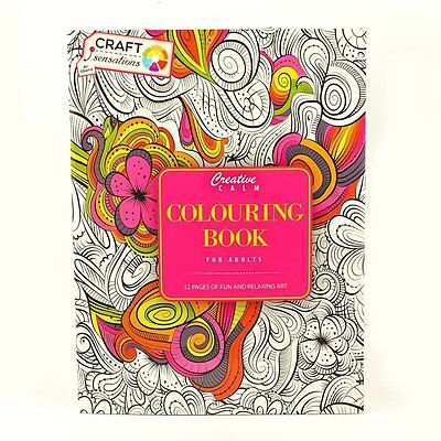 Adult Colouring Therapy Creative Calm Anti-Stress Colouring Book Pink