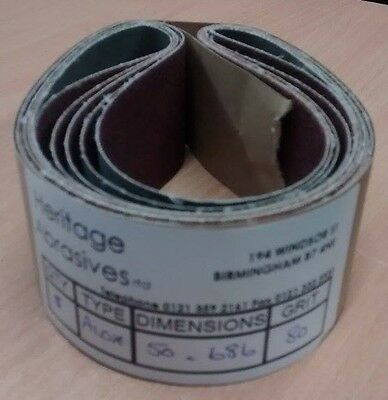 50mm x 686mm ALUMINIUM OXIDE SANDING BELTS - VARIOUS GRITS - MADE IN UK