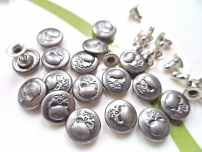 25pcs Button Metal Skull Head NO-SEW Tack Antiqued Silver Tone 10mm For Jean Hat