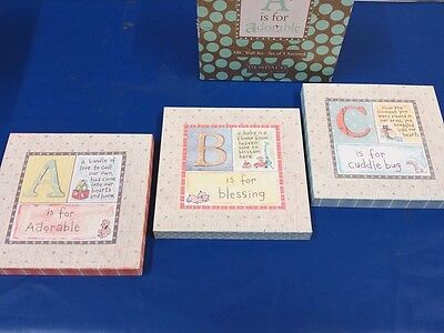 NIB Demdaco ABC Wall Art - Set of 3 Assorted A is for Adorable
