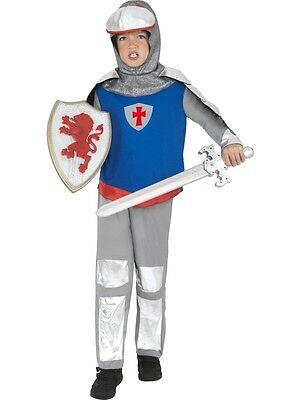 Boys Knight Costume Crusader Outfit LARP Renaissance Red Blue Silver Child Kids