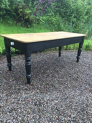 Antique Victorian Pine Farmhouse Kitchen Table With Drawer Under