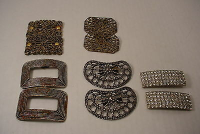 Vintage Antique Shoe Clips Buckles Lot of 5 Pair Steel Musi Rhinestone