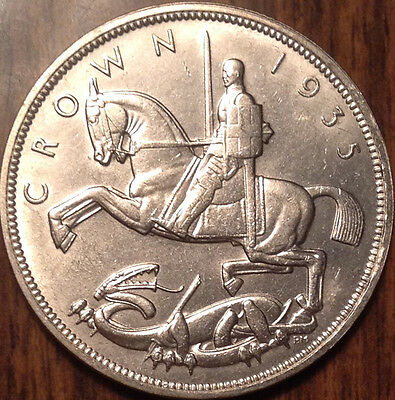 1935 Uk Gb Great Britain Silver Crown - Lightly Cleaned