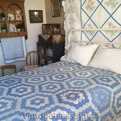 "So Hard to Find in BLUE! Vintage 30s Flower Garden QUILT 80x82"" Sweet Cottage"