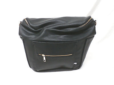 Fawn Design Faux Leather Backpack/Messenger Diaper Bag Black GG8 New