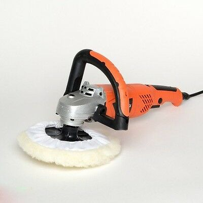 "7"" Variable Speed Polisher Buffer Sander Professional Car Waxer w/ Wool Bonnet"