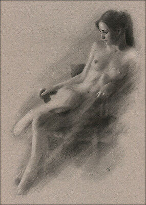 Female Nude ORIGINAL DRAWING CHARCOAL Fine ART Realism signed NO RESERVE !!