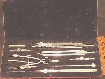 Antique Esero Drawing Drafting Tools Eleven piece set Ink with case