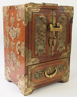 Vintage Walnut and Brass Chinese Chest/Jewellery Box