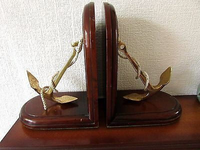 Vintage wood and brass anchors bookends by Jans of London-maritime/nautical