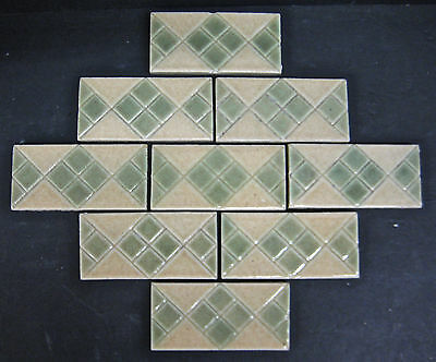 Vintage Decorated Subway Tiles by California Art Tile Co-set of 9