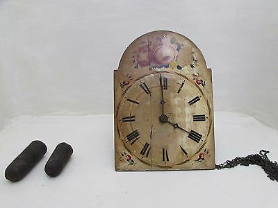 Large Antique Wag On The Wall Clock Wooden Face Original Lead Weights Present