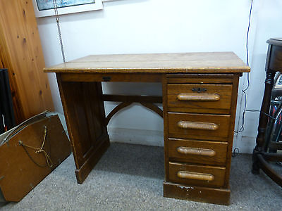 Victorian Solid Oak Childs School Desk with Drawers