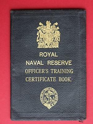 Ww1 Royal Naval R V. 02. Reserve Officer's Training Certificate Book.