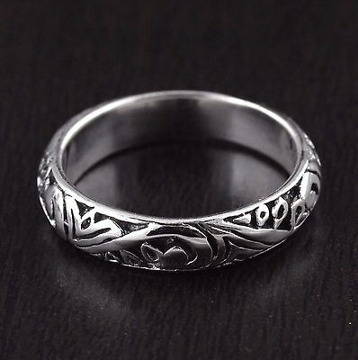Womens Solid 925 Sterling Silver Vintage Style Engraved Wedding Band Ring 5mm