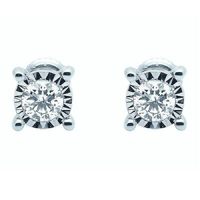 RRP £400 Round Diamond Stud Earrings White Gold - Heavy Gold - Great Earrings