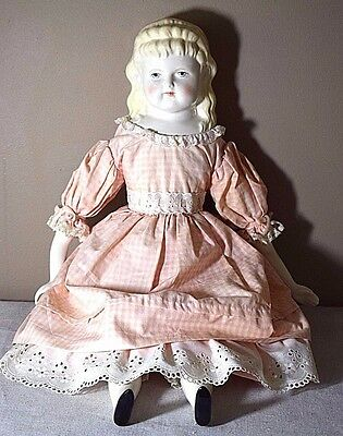 Vintage Mark Farmer China Doll with Pink & Cream Gingham Dress & Bloomers