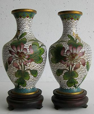 Fine Old Pair of Chinese Cloisonne Floral Decorated Scholar's Vases w/ Stands